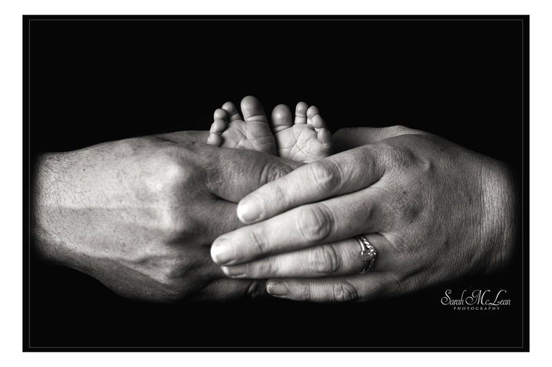 timeless black and white newborn baby feet photo by Sarah Mclean
