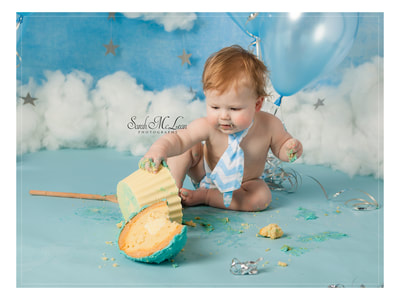 first birthday cake smash photographer Sarah Mclean in Preston, Lancashire