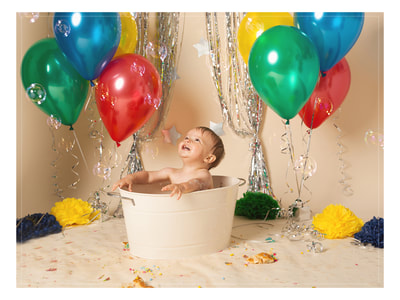bubble bath splash first birthday in Chorley, Lancashire by Sarah Mclean Photography