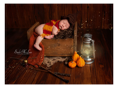 newborn photos Harry Potter theme by Sarah Mclean in Clitheroe