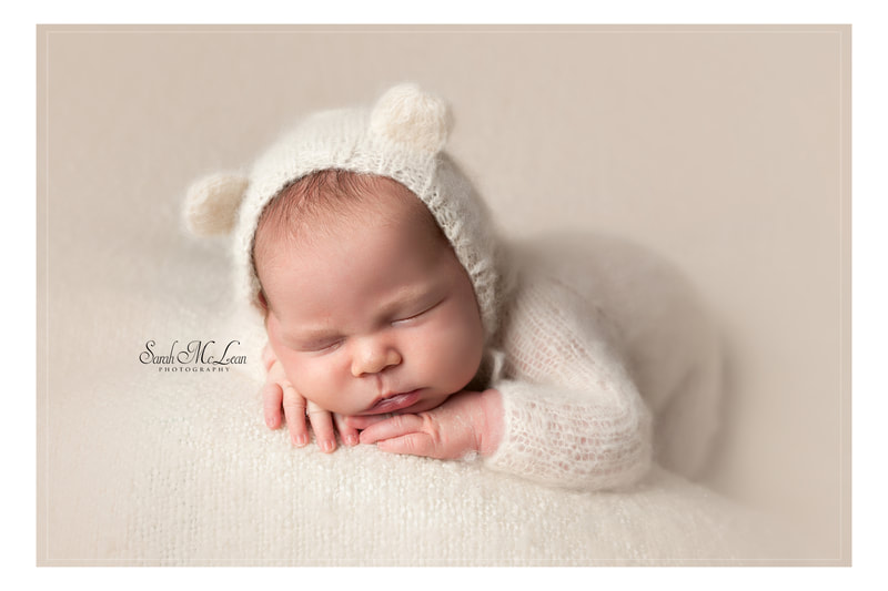 baby in a bear outfit newborn photographer in Clitheroe, Sarah Mclean
